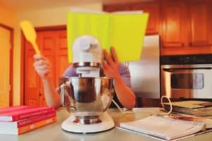 reading from a cookbook