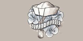 Pearl-Harbor-Hat-and-dogtag-drawing