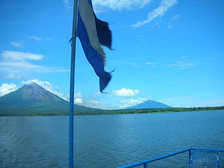 Nicaraguan-flag-lake-and-volcanoes